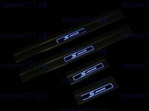 Накладки на пороги, с синей LED подсветкой, нерж. сталь