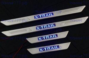 Накладки на пороги, с LED подсветкой, нерж. сталь