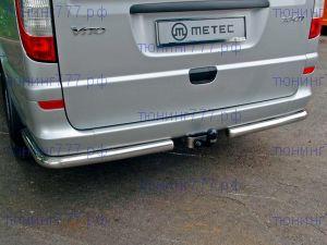 Защита заднего бампера, Metec, уголки, нерж. хромоникелевая сталь ф 60мм