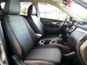 Чехлы на сиденья, экокожа, к-кт, цвет черный + т. серый