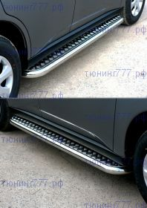 Боковые подножки Souz-96, лист алюминий, труба нерж. сталь ф 60мм