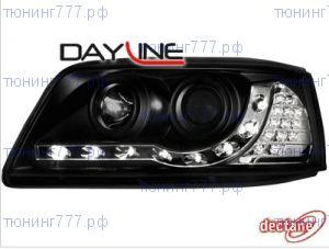 Фары передние, Dectane, черные с DRL огнями и LED повторителями