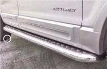 Боковые подножки Souz-96, с рифленым листом, трубы нерж. сталь ф 76мм
