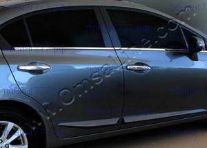 Нижние молдинги стекол 4х дверей, OmsaLine, нерж. сталь на седан 4D