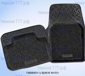 Коврики в салон, Aileron, с ворсовой вставкой, полиуретановые черные с бортиком