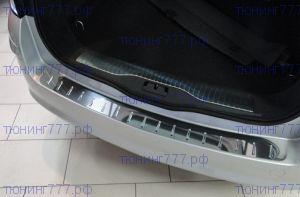 Накладка на задний бампер, Alufrost, с вставками, нерж. сталь, хэтч 2008-2012