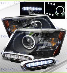 Фары со встроеными ангельскими глазками и LED подсветкой, + DRL к-кт, а/м 2008-2010